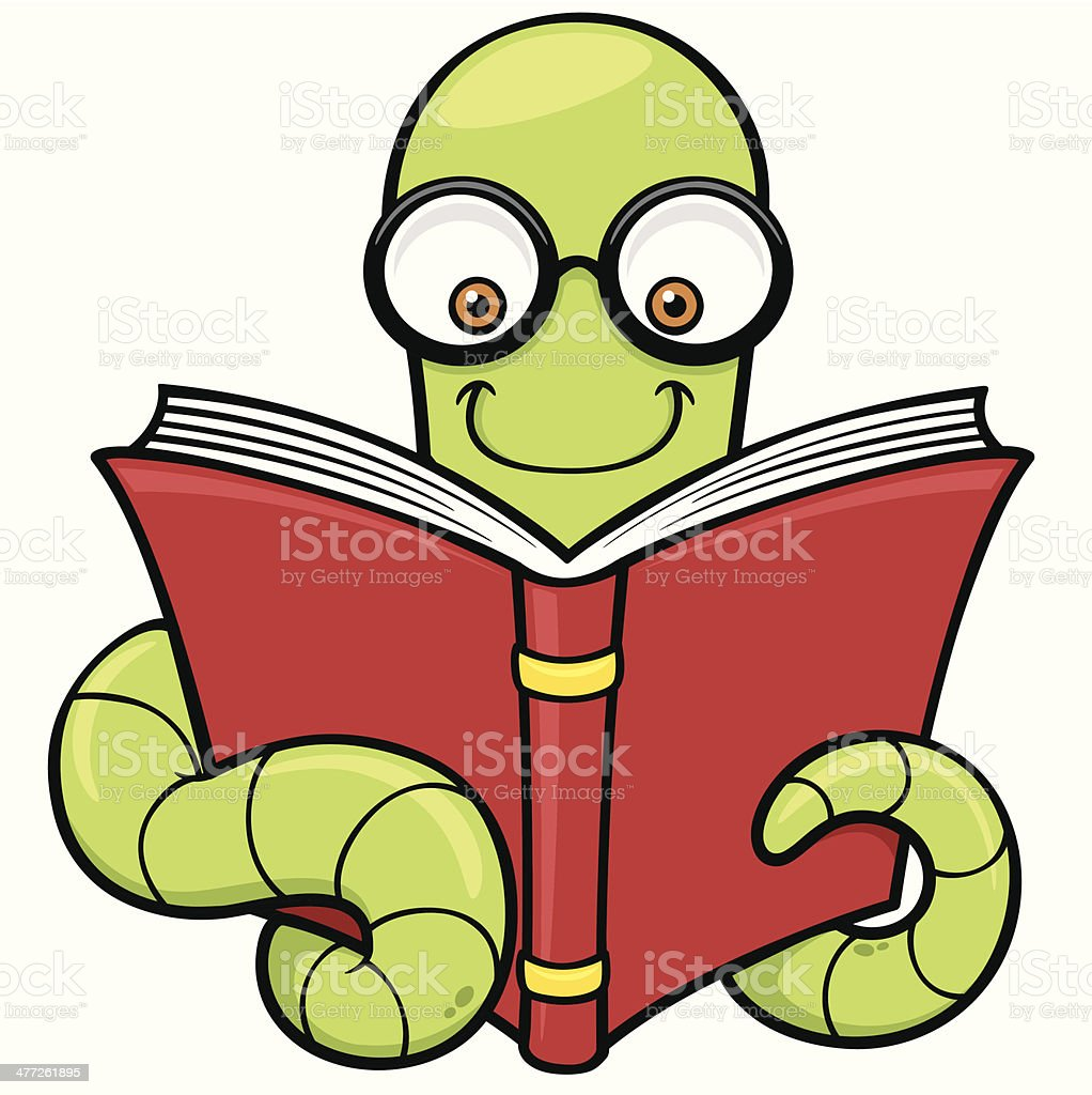 Cartoon Book Worm Stock Illustration - Download Image Now - iStock