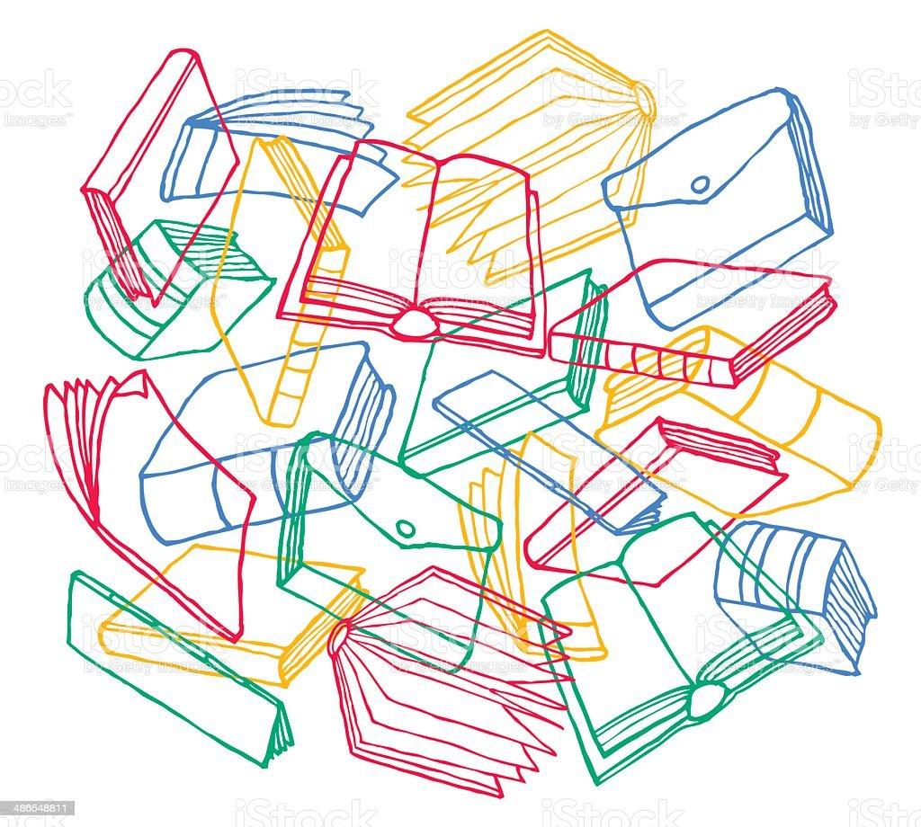 Cartoon books texture as background vector art illustration
