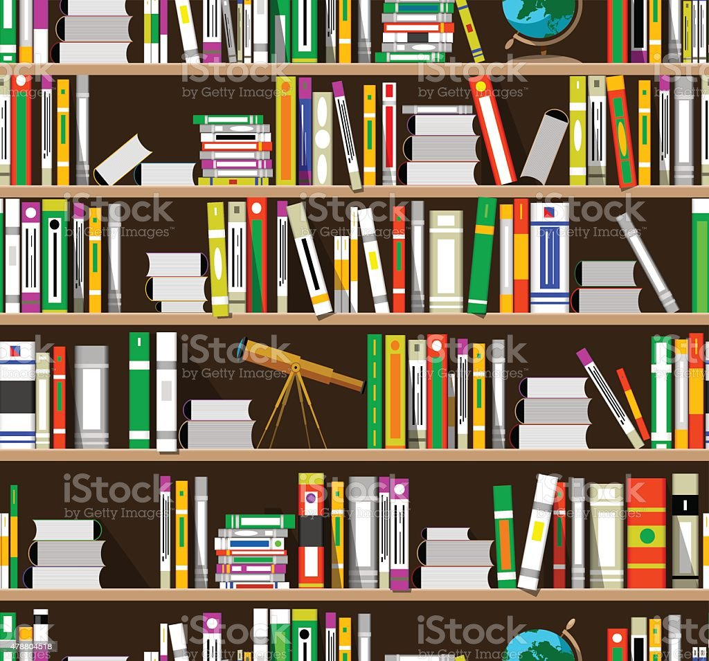 Cartoon Bookshelves In The Library Royalty Free Stock Vector Art