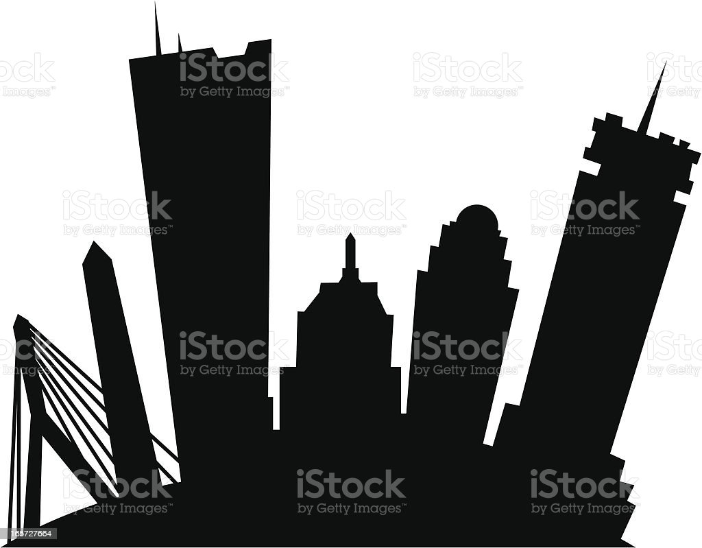 Cartoon Boston Silhouette vector art illustration