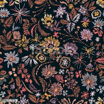 istock Cartoon botanical seamless pattern. Fun abstractive plants ornament. Graphic pencil line sketch drawing. Flowers, herbs and leaves. Summer fashion design for textile, fabric, clothes and wrapping. 1226992878