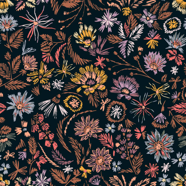Cartoon botanical seamless pattern. Fun abstractive plants ornament. Graphic pencil line sketch drawing. Flowers, herbs and leaves. Summer fashion design for textile, fabric, clothes and wrapping. Cartoon botanical seamless pattern. Fun abstractive plants ornament. Graphic pencil line sketch drawing. Flowers, herbs and leaves. Summer fashion design for textile, fabric, clothes and wrapping. flower head stock illustrations