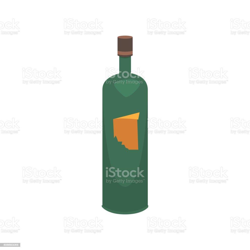 Cartoon bottle and a glass of wine vector illustration vector art illustration