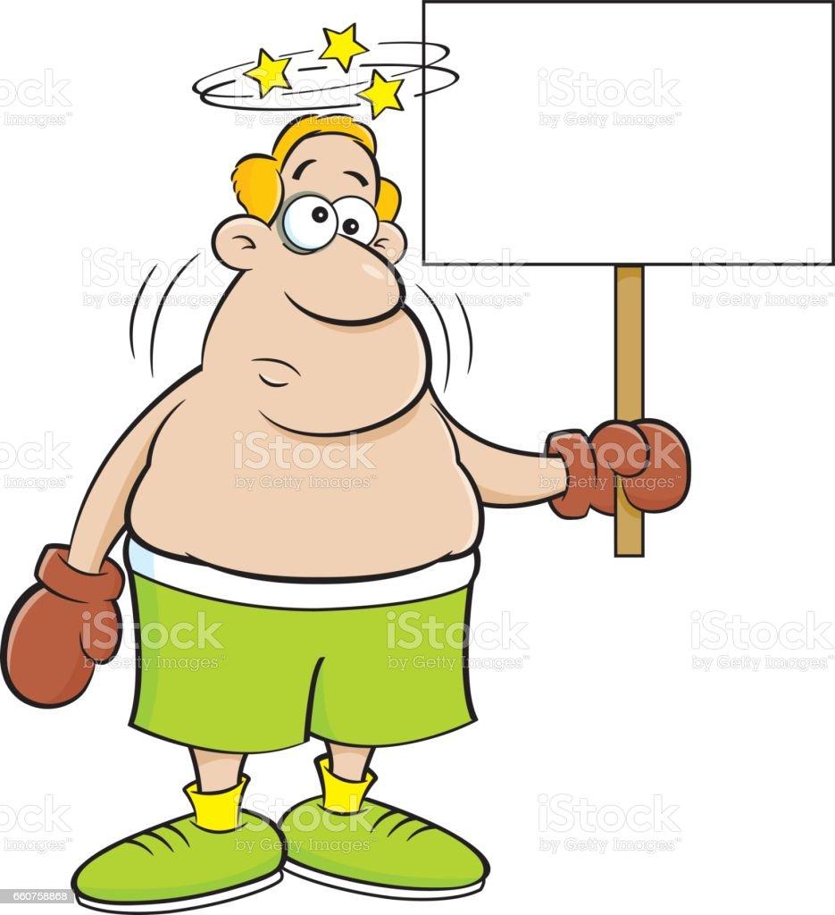 Cartoon boxer holding a sign. vector art illustration