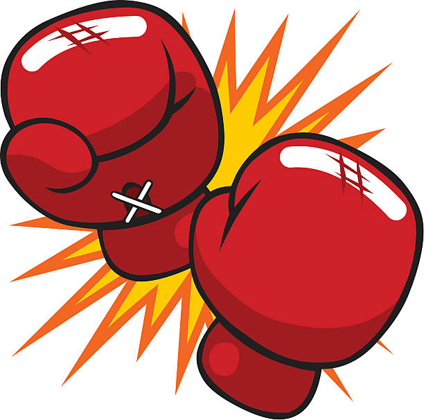 cartoon boxing gloves - boxing gloves stock illustrations, clip art, cartoons, & icons