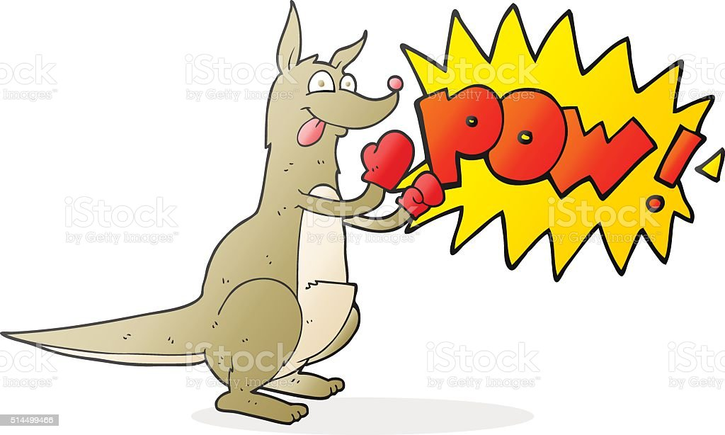 cartoon boxing kangaroo vector art illustration