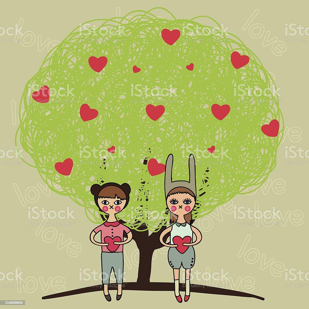 cartoon boy and girl in love royalty-free stock vector art