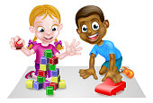 Cartoon black boy and white girl playing with toys, with car and toy building blocks