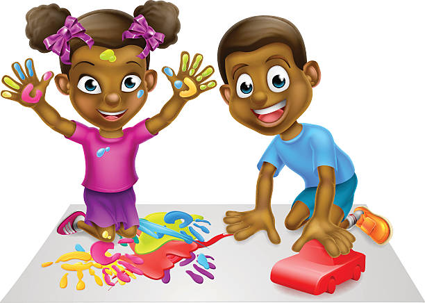 Girl Toys Clip Art : Royalty free african american painting clip art vector