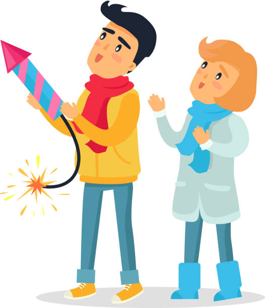 Cartoon Boy and Girl Set off Firework Rocket. Cartoon boy and girl set off blazing striped firework rocket. Improper behaviour by children with pyrotechnics. Flat vector illustration of frightened little people playing with dangerous equipment pyrotechnic effects stock illustrations