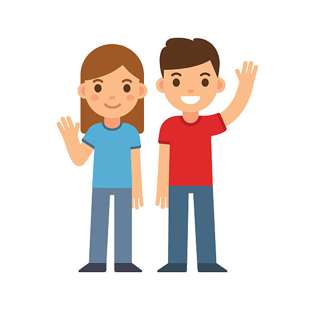 cartoon boy and girl - brother stock illustrations, clip art, cartoons, & icons