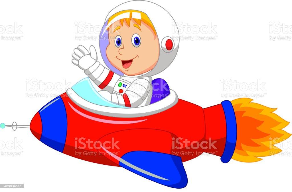 カットイラスト少年宇宙飛行士の宇宙船 1人のベクターアート素材や画像