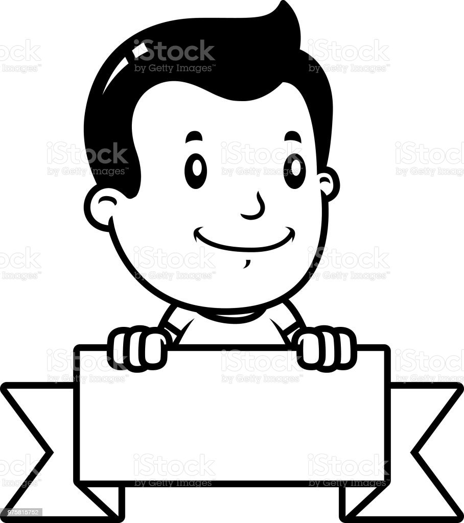 Cartoon Junge Banner - Lizenzfrei ClipArt Vektorgrafik