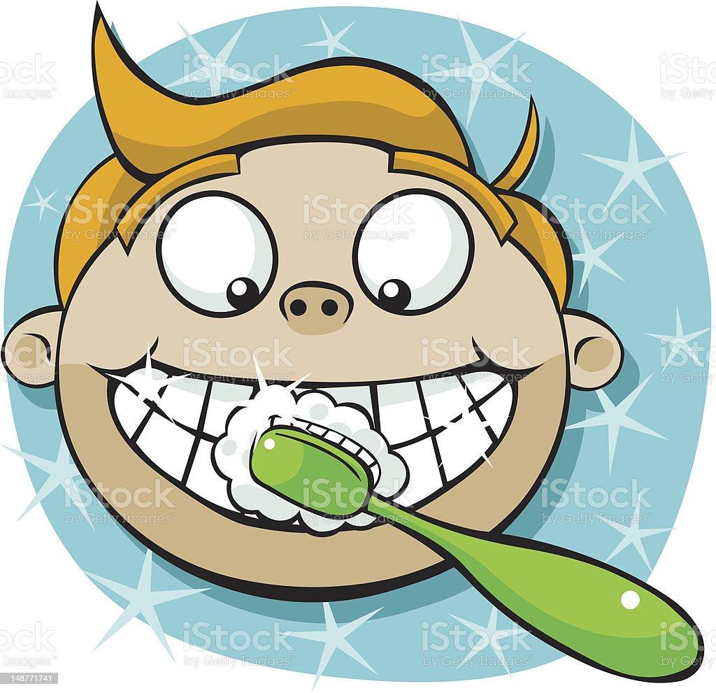 Cartoon Boy Brushing Teeth royalty-free stock vector art