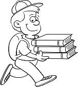 Cartoon boy carrying books.