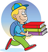 Cartoon boy carrying books with a background.