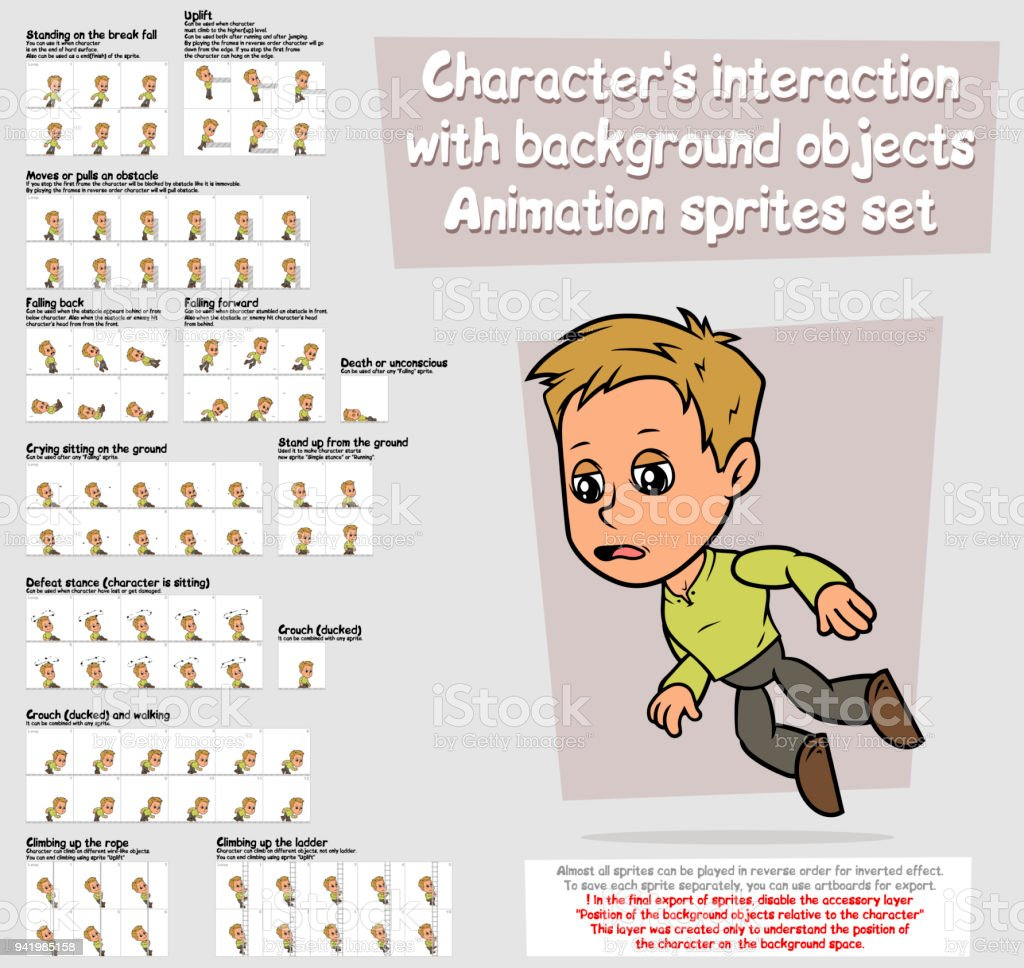 Cartoon boy character animation sprites sheet set vector art illustration