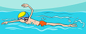 cartoon boy character swimming in the water