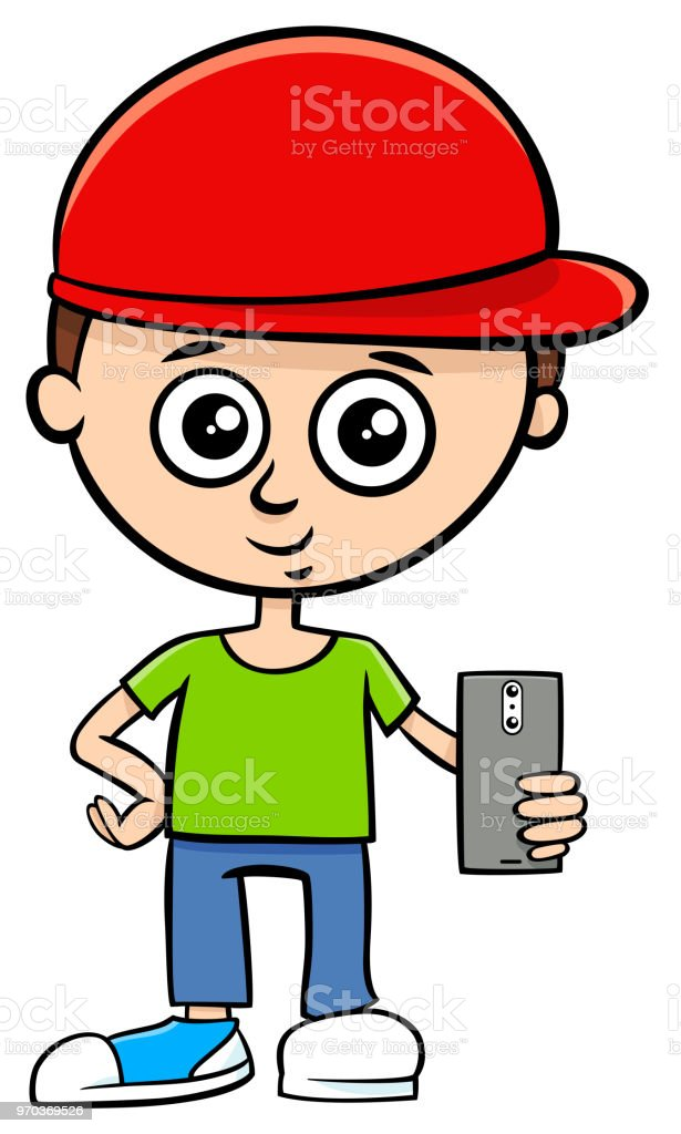 Cartoon Boy Character With Smart Phone Stock Illustration