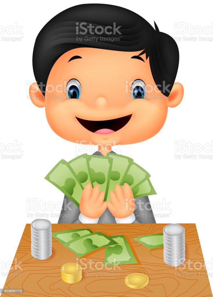 Cartoon boy counting the money vector art illustration