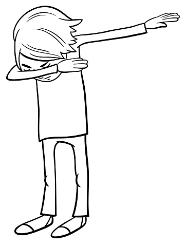 cartoon boy doing dab color book