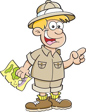 Cartoon boy dressed as an explorer.
