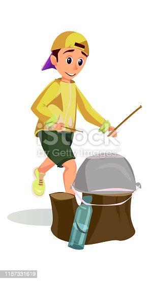 Cartoon Boy Drum Hitting Camp Pot on Tree Stump