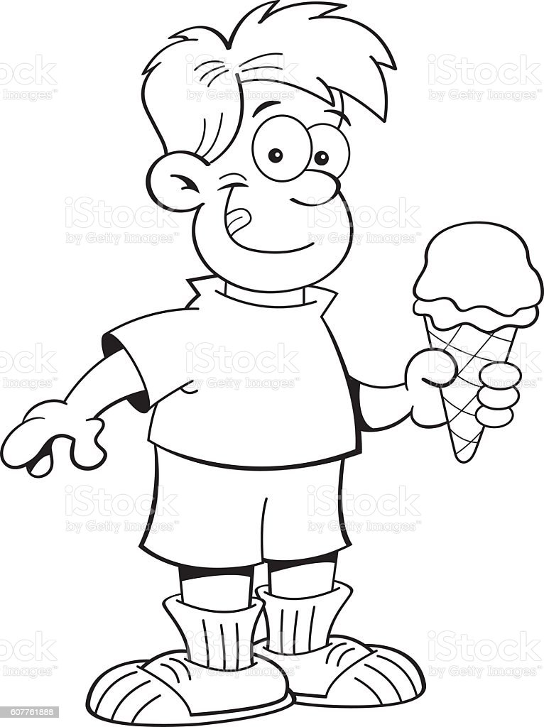 Cartoon Boy Eating An Ice Cream Cone Stock Vector Art
