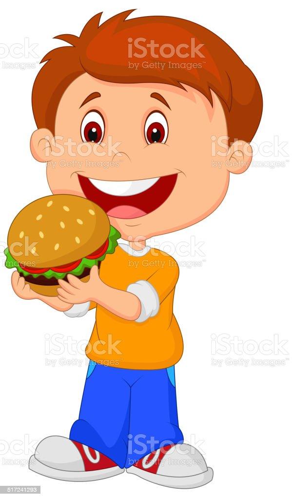 カットイラスト少年食べるブルジェ 1人のベクターアート素材や画像を