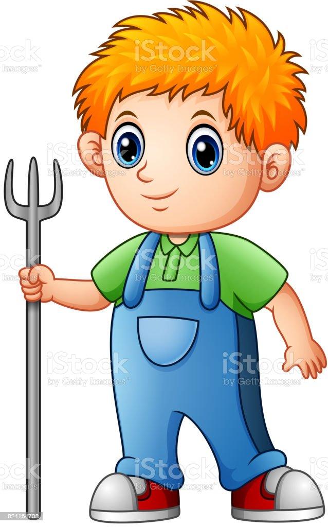 Rastrillo de dibujos animados chico granjero holding - ilustración de arte vectorial