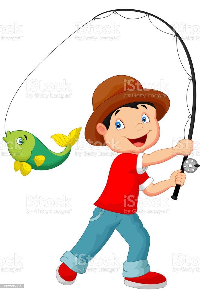 Fumetto di ragazzo pesca - illustrazione arte vettoriale