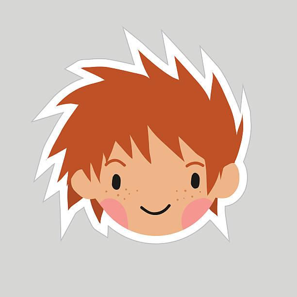 Cartoon boy head flat sticker icon. vector art illustration