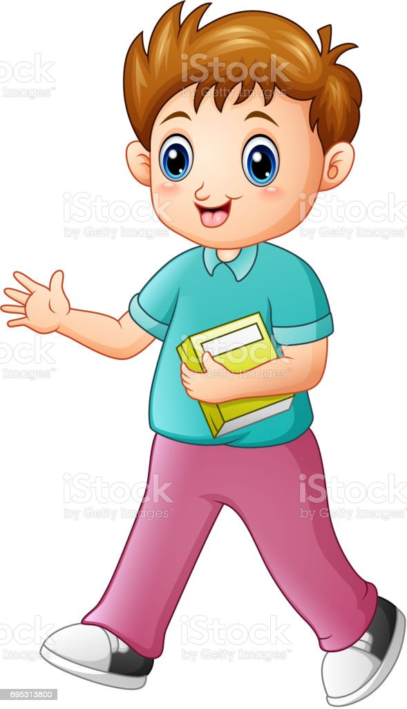 Cartoon boy holding a book with waving hand vector art illustration