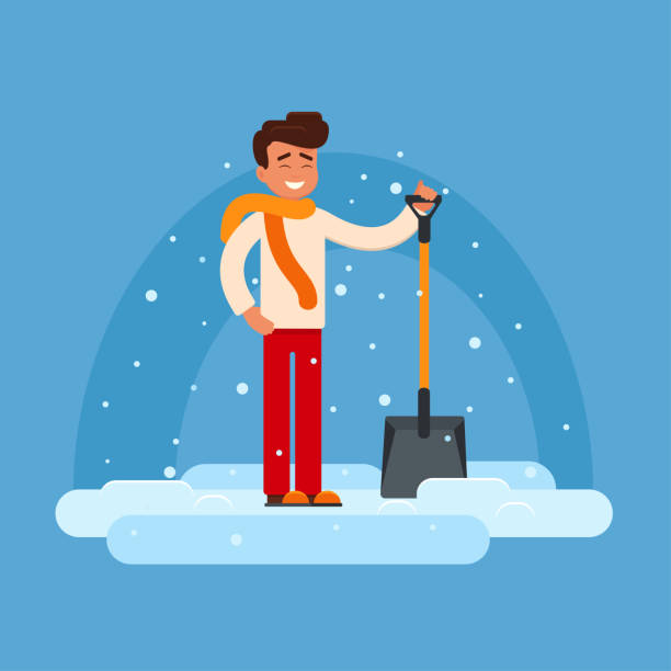 royalty free shoveling snow clip art vector images illustrations