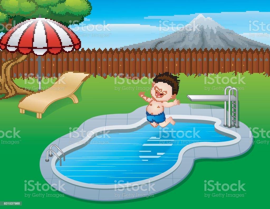 Ni o de dibujos animados saltar en la piscina illustracion for Imagenes en piscina