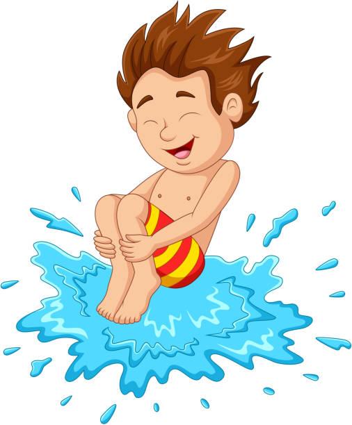 ilustrações de stock, clip art, desenhos animados e ícones de cartoon boy jumping to the water - jump pool, swimmer