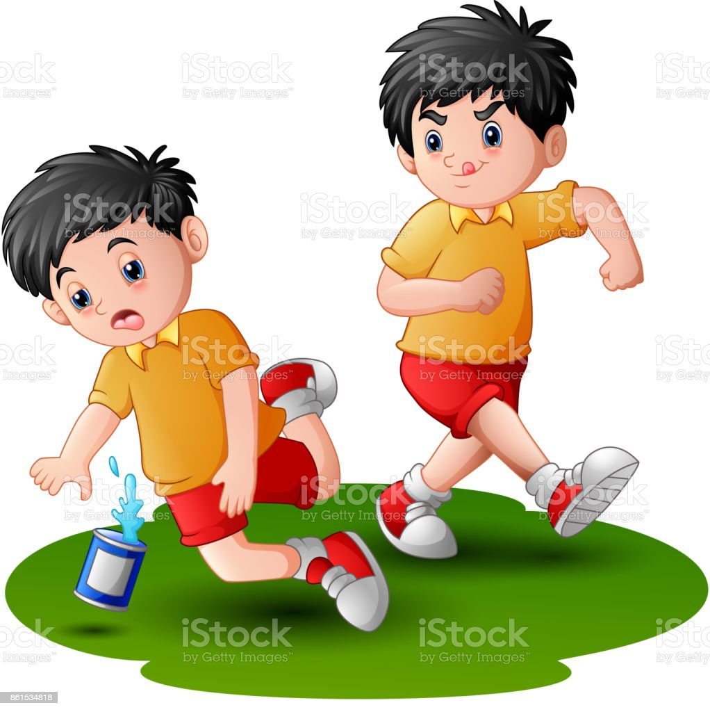 cartoon boy kicking others kid leg stock vector art & more images of