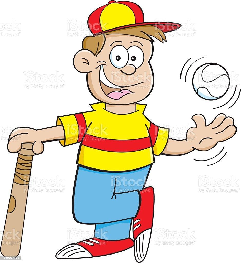 cartoon boy leaning on a baseball bat and tossing a baseball stock