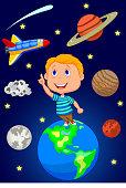 Cartoon boy looking at the sky