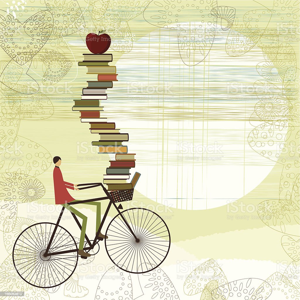 A cartoon boy on a bike with schoolbooks piled up vector art illustration