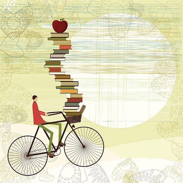 A cartoon boy on a bike with schoolbooks piled up vector art illustration