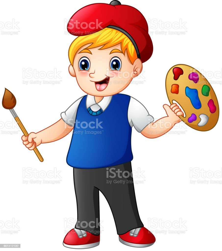 Cartoon boy painting vector art illustration