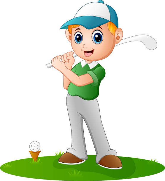 cartoon boy playing golf - titelfotos stock-grafiken, -clipart, -cartoons und -symbole
