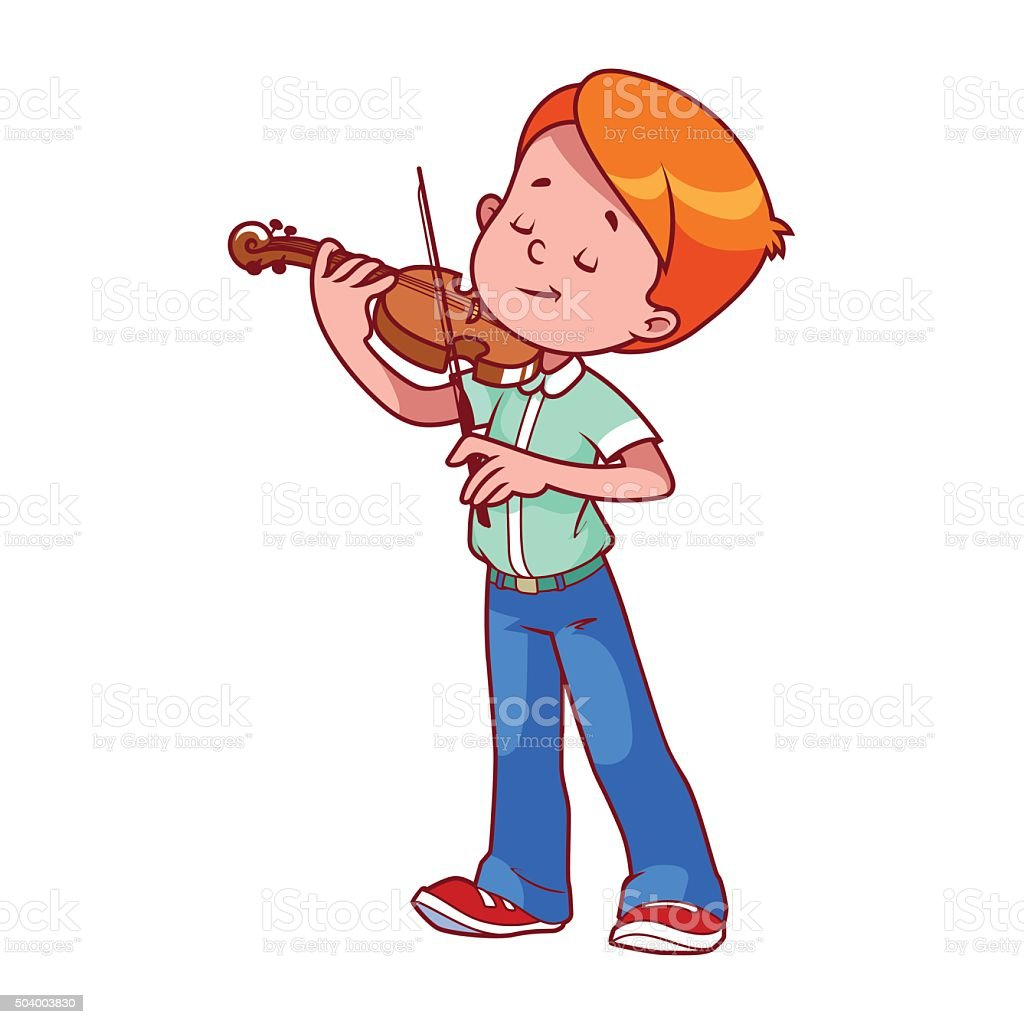 Cartoon boy playing the violin. vector art illustration