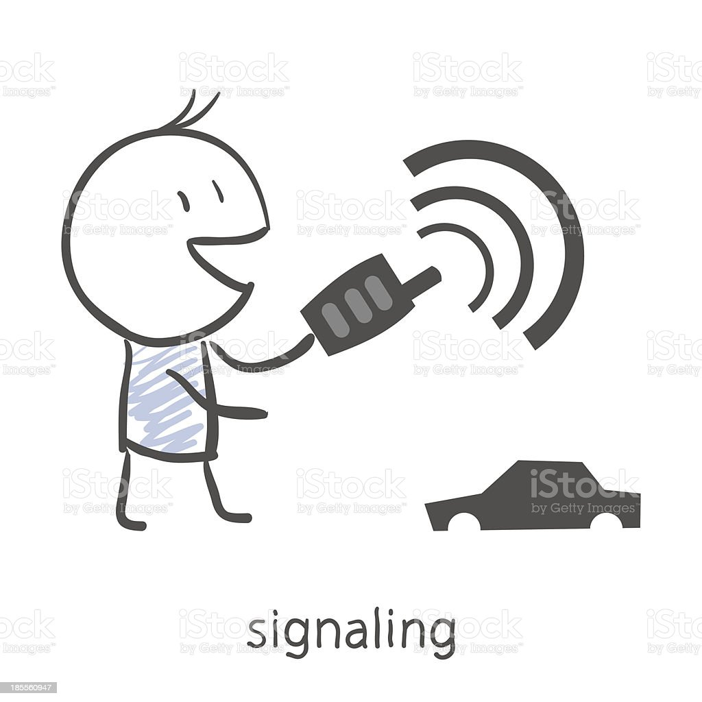 Cartoon boy puts on car alarm royalty-free stock vector art