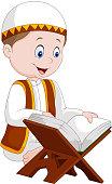 Cartoon boy reading Quran