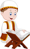 Cartoon boy reading Quran