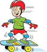 Cartoon boy riding a skateboard.