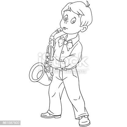ᐈ Imagen De Saxofonista De Niño De Dibujos Animados