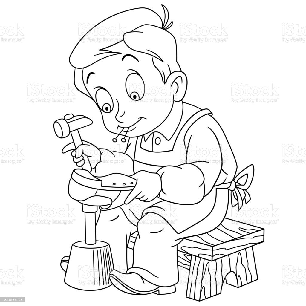 Cartoon Boy Shoemaker Stock Illustration - Download Image ...